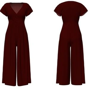 Pants - VKY & CO Palazzo Jumpsuit Burgundy
